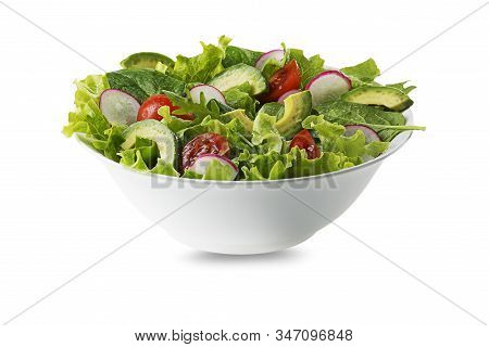Green Salad With Avocado, Tomato And Fresh Vegetables Isolated On White Background