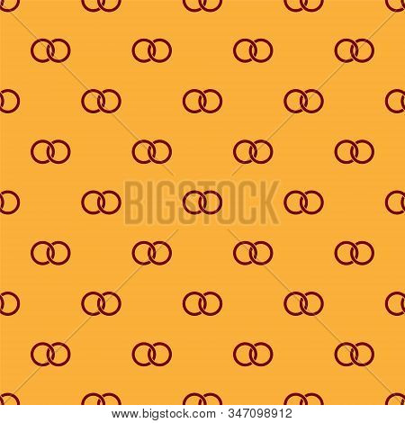 Red Wedding Rings Icon Isolated Seamless Pattern On Brown Background. Bride And Groom Jewelery Sign.
