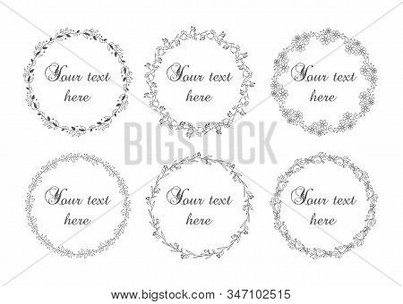 Cute And Simple Floral Wreath Set Vector Isolated. Frame