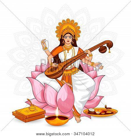 Beautiful Goddess Of Wisdom, Music, And Knowledge Maa Saraswati Vector Illustration On The Indian Fe