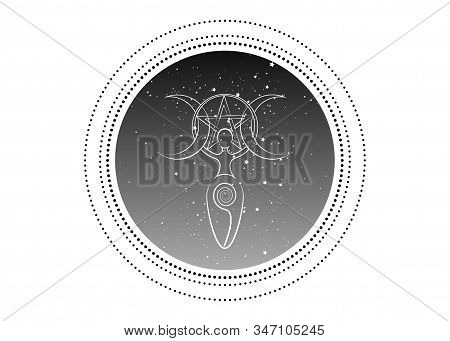 Spiral Goddess Of Fertility And Triple Moon Wiccan. The Spiral Cycle Of Life, Death And Rebirth. Wic