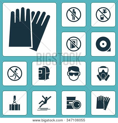 Protection Icons Set With Icy Surface, Eyeglasses, Keep Door Closed And Other Chemical Storage Eleme