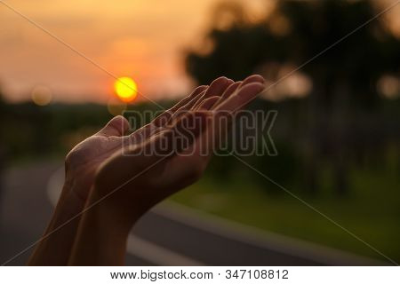 Christian Woman Hands Praying To God. Woman Pray For God Blessing To Wishing Have A Better Life. Beg
