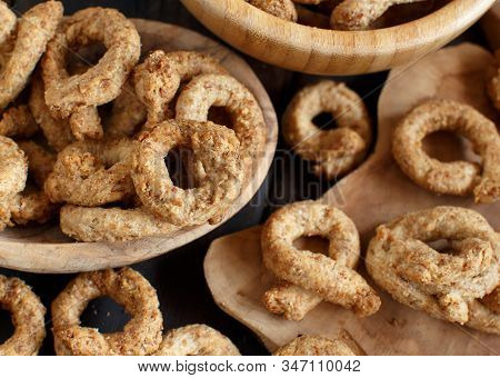 Taralli Traditional Italian Snack From Puglia Close Up