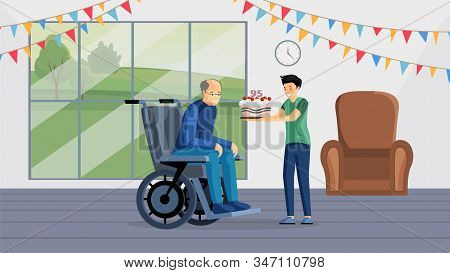 Grandfather Birthday Celebration Flat Vector Illustration. Happy Aged Man In Wheelchair And Boy Hold