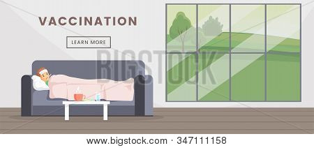 Vaccination Flat Web Banner Vector Template. Medical Immunization Landing Page, Healthcare Industry
