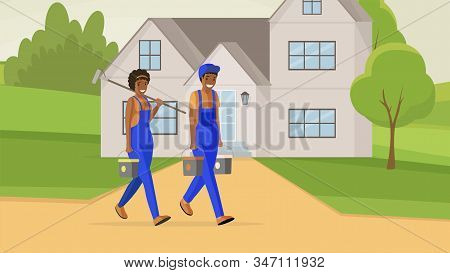 Professional House Painters Flat Illustration. Male And Female Repairman Carrying Paint Buckets And