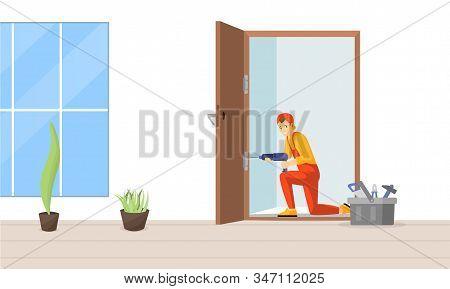 Carpenter Fixing Door Vector Illustration. Professional Repairman Fitting Door Hinge Cartoon Charact