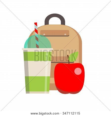 School Lunch Box. Kids School Lunches Icons In Flat Style. Vector Flat Design Illustration.