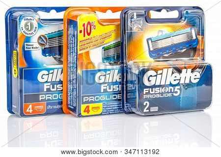Moscow, Russia - January 23, 2020: Three Blue And Orange Blister Packs Of Gillette Fusion Proglide R