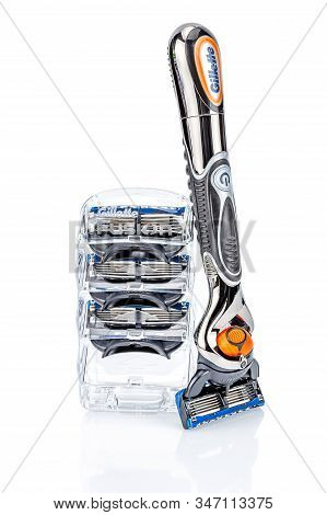 Moscow, Russia - January 23, 2020: Gillette Fusion Proglide Power Battery Razor Handle With Attached