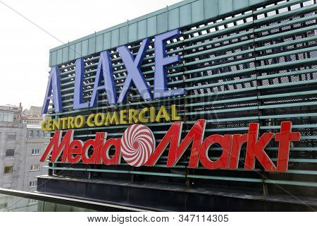 Vigo, Spain - Jan 24, 2020: A Laxe Shopping Centre Sign On January 20, 2020 In Vigo City. Newest Sho