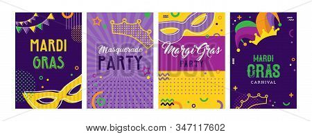 Mardi Gras Party Greeting Card Set Or Invitations. Carnival Background For Traditional Holiday Or Fe