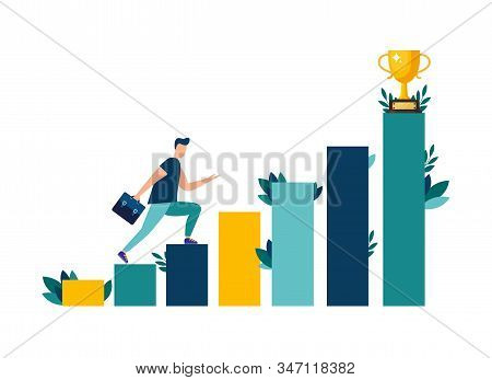 Vector Illustration, People Are Running Towards Their Goal On The Stairs Or Columns, Moving Up To Th
