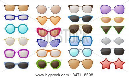 Sunglasses Silhouettes. Colorful Fashion Protective Eyewear Accessories In Various Styles, Trendy Gl