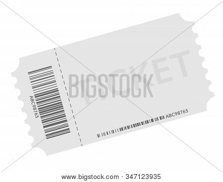 Admission Ticket With Detatchable Stub With Barcode Symbol Vector Illustration