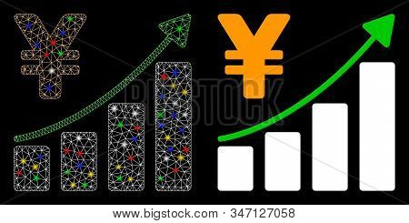 Glossy Mesh Yen Growth Graph Icon With Lightspot Effect. Abstract Illuminated Model Of Yen Growth Gr