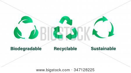 Biodegradable, Recyclable And Sustainable Signs, Symbols. Waste, Garbage Icon. Reduce, Reuse, Recycl
