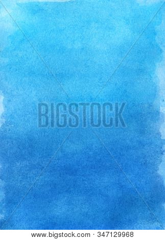 Sky Blue Watercolor Abstract Background. Gradient Fill. Hand Drawn Texture.