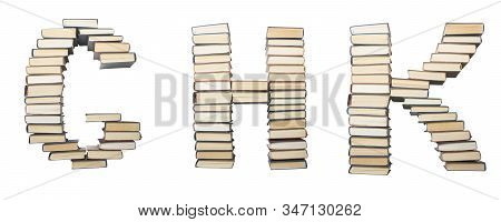 G H K Letter From Books. Alphabet Isolated On White Background. Font Composed Of Spines Of Books