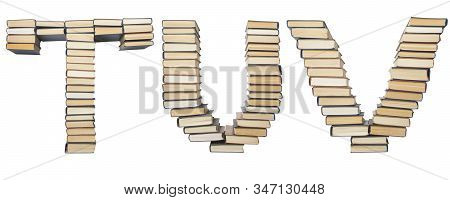T U V Letter From Books. Alphabet Isolated On White Background. Font Composed Of Spines Of Books
