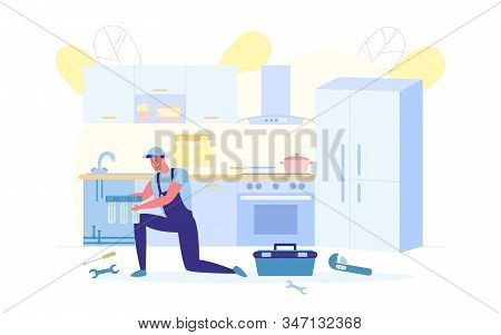 Plumbers Worker Installs Drinking Filter, Banner. An Employee In Cap Fulfills Home Order. He Install