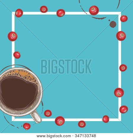 Square Menu Template With Coffee And Cranberry On Blue Background With Blank Area In The Centre And