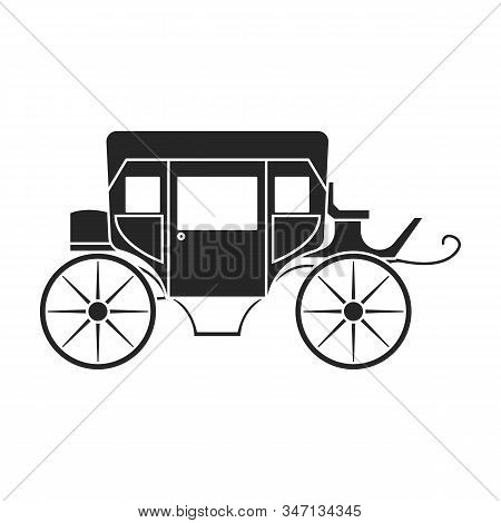 Vintage Carriage Vector Icon.black, Simple Vector Icon Vintage Carriage Isolated On White Background