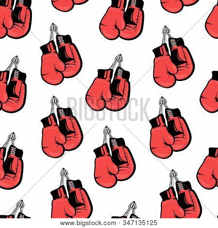 Seamless Boxing Themed Pattern. Boxing Gloves Pattern. Red Colored Bright Boxing Gloves, Pattern For