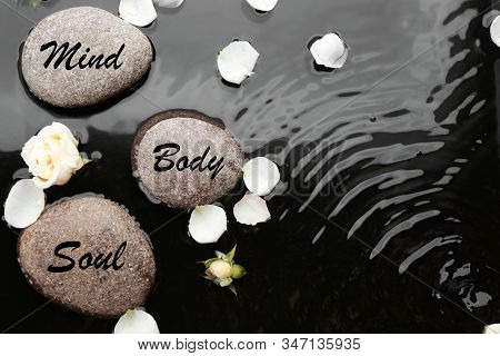 Spa Stones With Words Mind, Body, Soul And Rose Petals In Water, Flat Lay. Zen Lifestyle