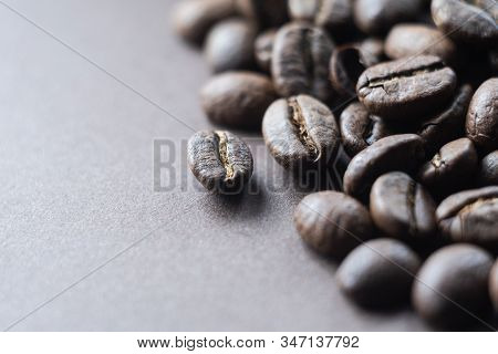 Roasted Coffee Beans On Dark Brown Background