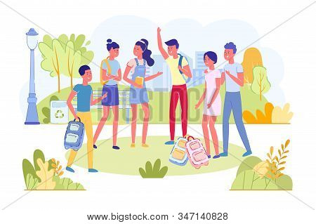 Teenagers Students With Backpack Outdoor Standing Or Walking In Park On School Or College Break And