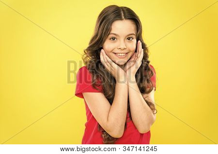Acting School For Children. Develop Talent. Girl Artistic Kid Practicing Acting Skill. Enter Acting