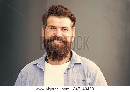 Barbering At Its Best. Male Barber Care. Brutal Caucasian Hipster With Moustache. Smiling Bearded Ma