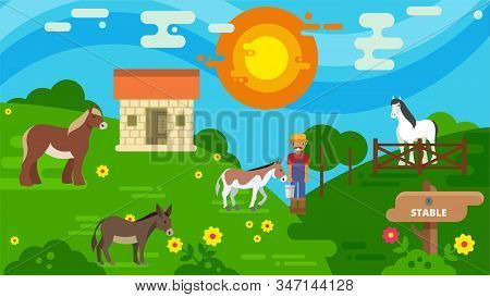Horse Stable And Pasture Land Vector Illustration Flat Style. Horse Breeder Farmer Worker Man At Ani