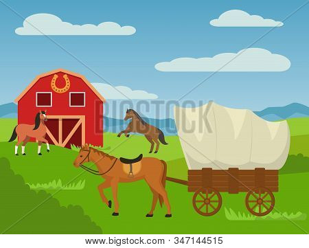 Horses At Country Animal Ranch Farm, Horse Harnessed To Cart Wagon Carriage Vector Illustration. Bar