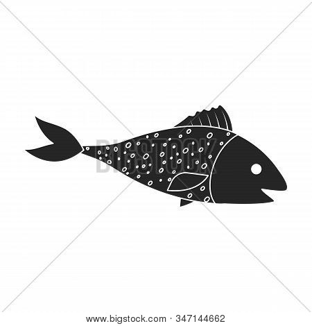 Sea Fish Vector Icon.black, Simple Vector Icon Isolated On White Background Sea Fish.