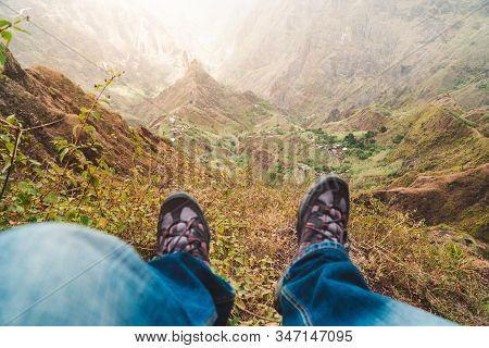 Santo Antao Island, Cape Verde. Traveler Hiking Defocused Boots Over Impressive Verdant Xo-xo Valley