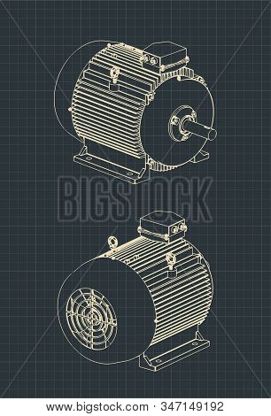 Vector Illustration Of Drawings Of A Standard Electric Motor For Machine Tools