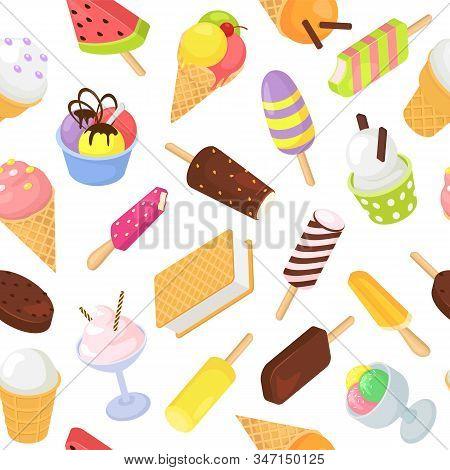 Ice Cream Frozen Dessert Food Sweets Seamless Pattern Vector Illustration. Various Ice Cream Vanilla