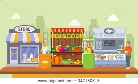 Girls Promoters Offer, Advertise Goods Vector Illustration. Counters With Products Promo Demonstrati