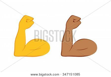 Flexed Bicep Color Icon. Strong Emoji. Muscle. Bodybuilding, Workout. Mans Arm, Forearm. Isolated Ve