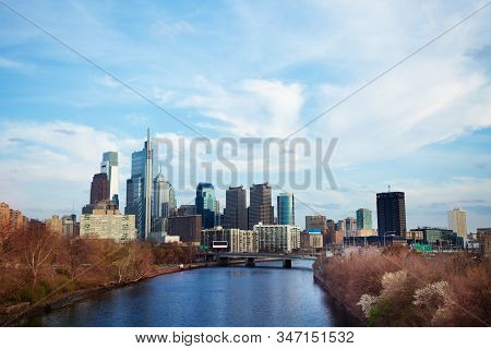 Schuylkill River And Downtown Skyscrapers Of Philadelphia During Spring Daytime