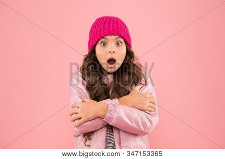 Feeling Frosty. Ready For Cold Winter. Cold Climate Weather. Frozen Little Girl Pink Background. Kid
