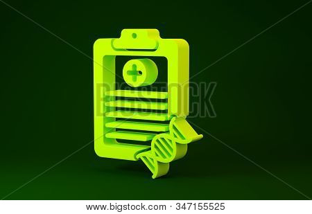 Yellow Clipboard With Dna Analysis Icon Isolated On Green Background. Genetic Engineering, Genetics