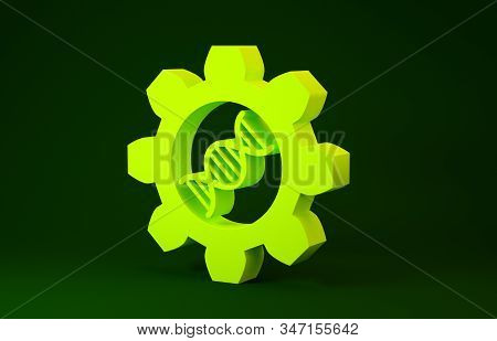 Yellow Genetic Engineering Icon Isolated On Green Background. Dna Analysis, Genetics Testing, Clonin
