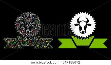 Glossy Mesh Cattle Award Ribbon Icon With Lightspot Effect. Abstract Illuminated Model Of Cattle Awa