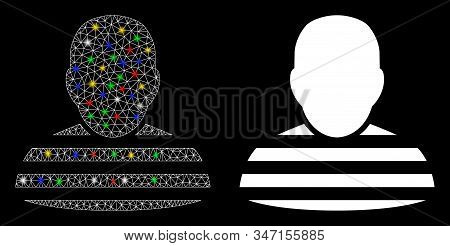 Glossy Mesh Prisoner Person Icon With Glow Effect. Abstract Illuminated Model Of Prisoner Person. Sh