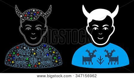 Flare Mesh Deers Pullover Horned Husband Icon With Lightspot Effect. Abstract Illuminated Model Of D