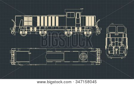 Stylized Vector Illustration Of Drawings Of A Classic Diesel Locomotive